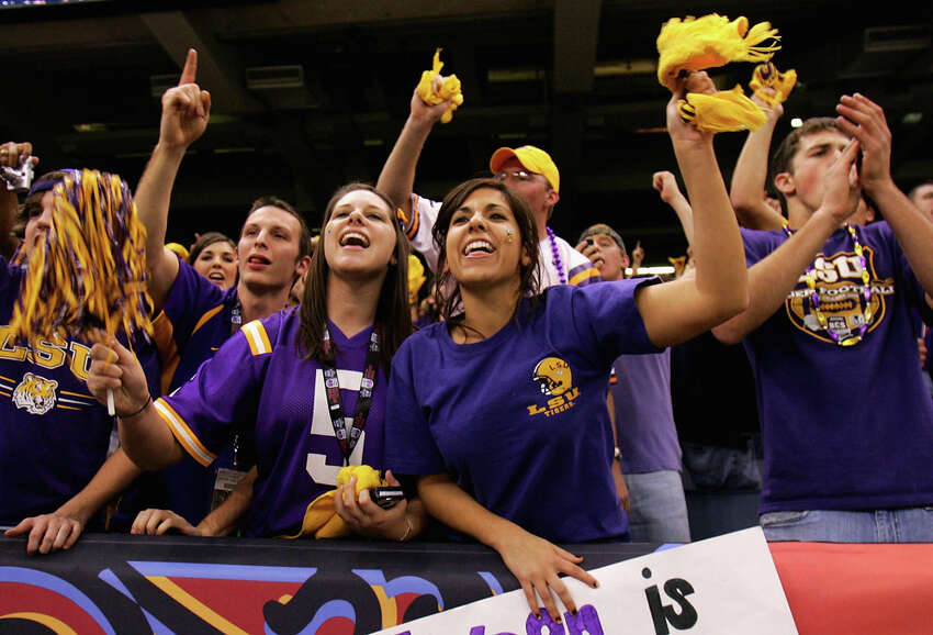 19. Louisiana State University - 159 Fans of the LSU Tigers cheer before the AllState BCS National Championship against the Ohio State Buckeyes on Jan. 7, 2008 at the Louisiana Superdome in New Orleans.