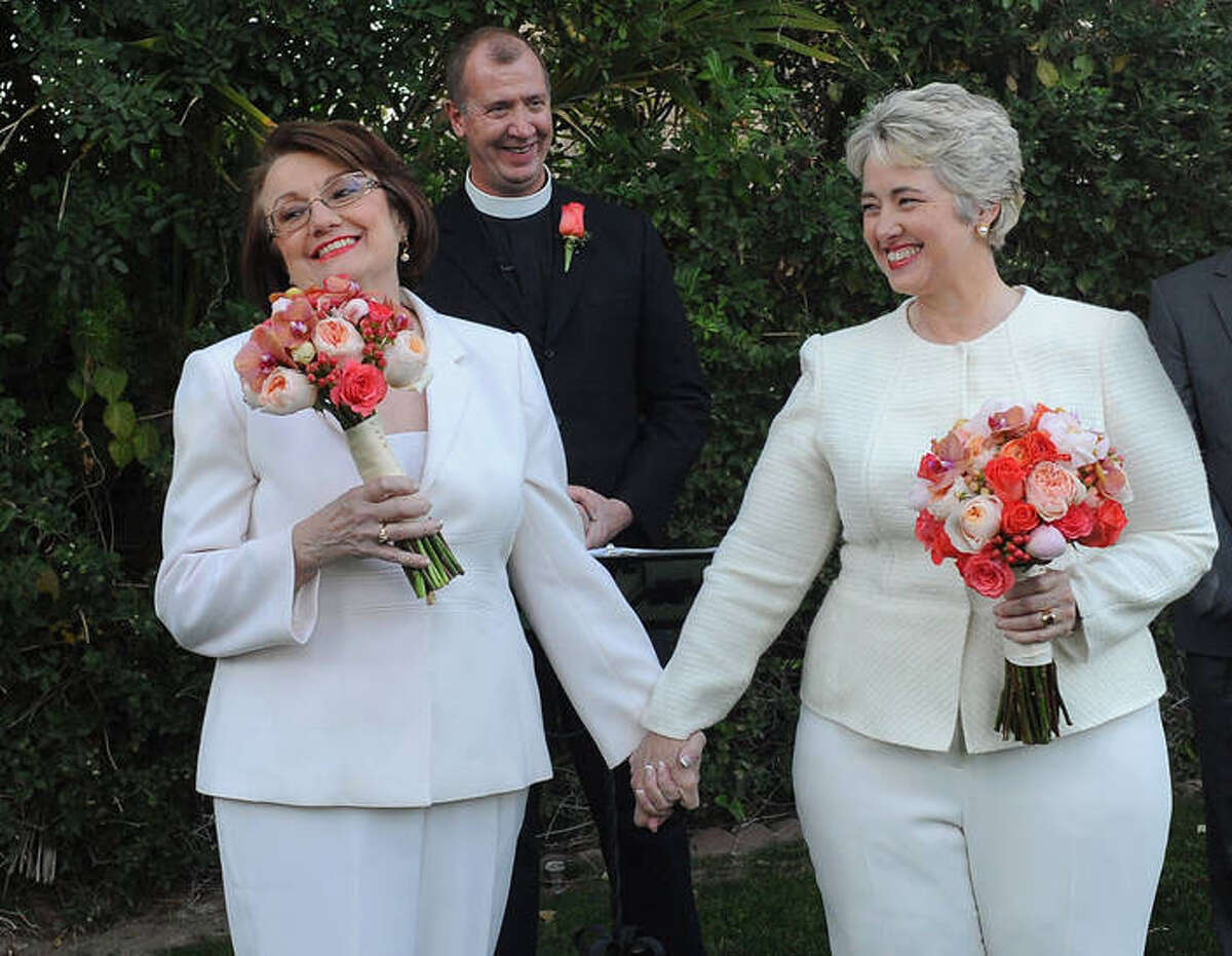 Mayor Annise Parker and Kathy Hubbard were married Thursday in Palm Springs, Calif.