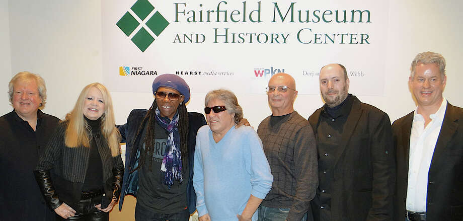 Musicians who turned out for the opening of Fairfield's Rockin' Top 10 exhibit at the Fairfield Museum and History Center include, from left, Chris Frantz, Tina Weymouth, Nile Rodgers, Jose Feliciano, Chip Damiani, and Robert Steven Williams, with Michael Jehle, the museum's executive director. Photo: Mike Lauterborn / Fairfield Citizen contributed