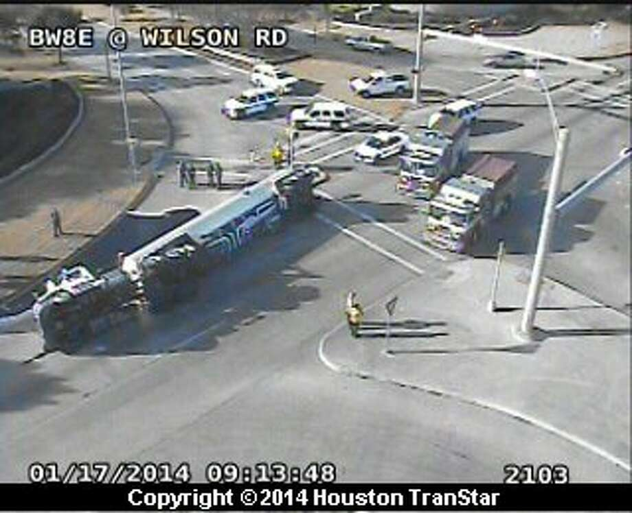 Eastbound Beltway 8 North was blocked near Wilson Road Friday morning after truck overturned. Photo: Houston Transtar