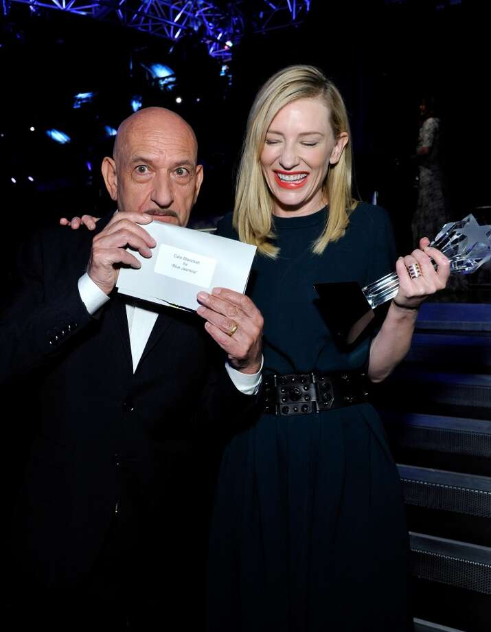 Actor Sir Ben Kingsley (L) and actress Cate Blanchett (holding the Critics' Choice Award for Best Actress for 'Blue Jasmine') attend the 19th Annual Critics' Choice Movie Awards at Barker Hangar on January 16, 2014 in Santa Monica, California. Photo: John Sciulli, Getty Images