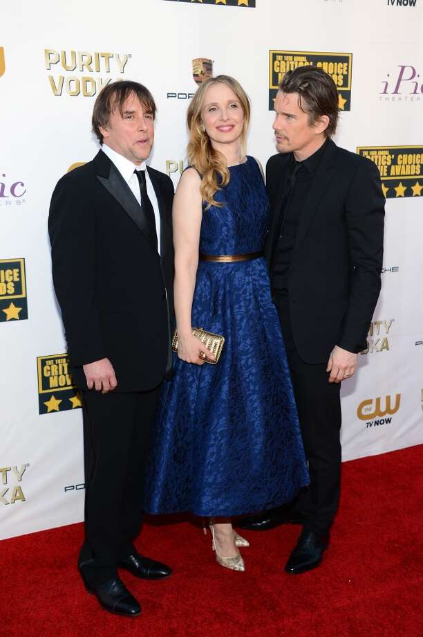 (L-R) Director Richard Linklater and actors Julie Delpy and Ethan Hawke attend the 19th Annual Critics' Choice Movie Awards at Barker Hangar on January 16, 2014 in Santa Monica, California. Photo: Ethan Miller, Getty Images