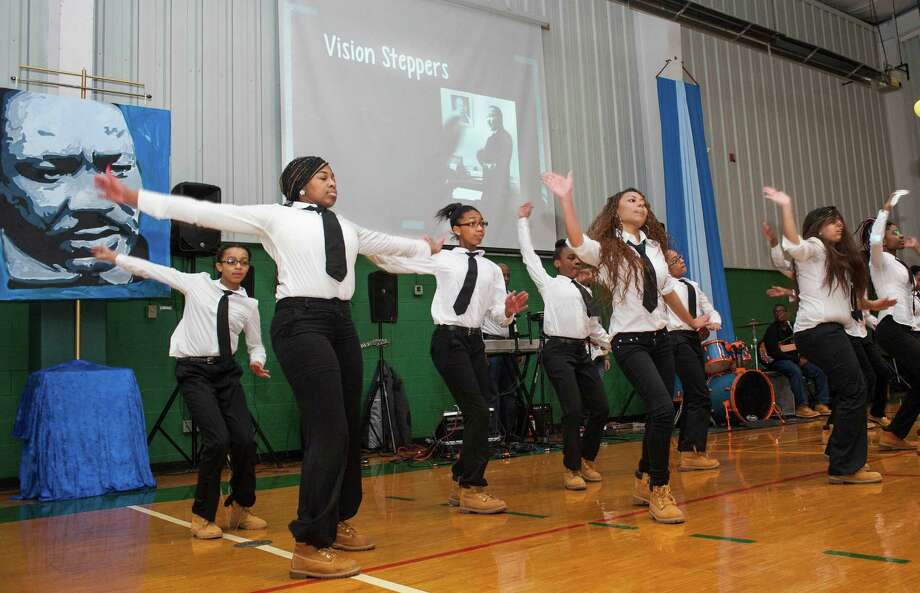 "The Vision Steppers as part of ""Celebrating Dr. Martin Luther King Jr. - Be a force for change."" program perform for the staff and students at the Convent of the Sacred Heart, Greenwich, CT on Friday, January, 17th, 2014. Photo: Mark Conrad / Connecticut Post Freelance"