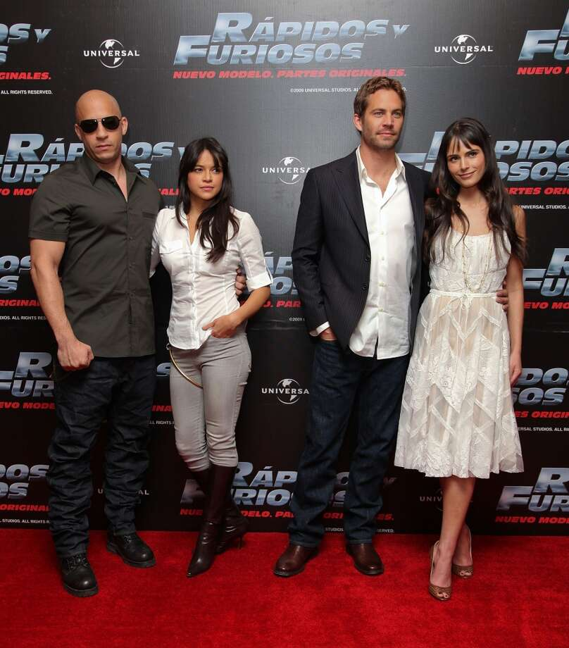 Actor Vin Diesel, actress Michelle Rodriguez, actor Paul Walker and actress Jordana Brewster in 2009. Photo: Victor Chavez, WireImage
