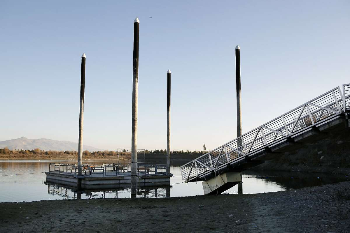 The floating fishing pier at Quarry Lakes Regional Park is closed due to low water levels caused by the ongoing drought and construction drainage, in Fremont, CA, Thursday, January 16, 2014.