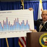 California Gov. Jerry Brown holds a chart showing statewide average precipitation as he speaks during a news conference on January 17, 2014 in San Francisco, California.  Gov. Brown declared a drought state of emergency for  California as the state faces water shortfalls in what is expected to be the driest year in state history. Residents are being asked to voluntarily reduce water usage by 20%.