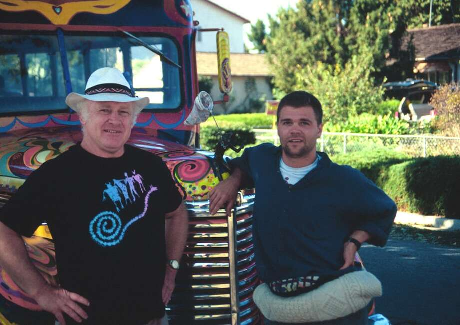 "Ken Kesey and former student Jeff Forester in front of the bus ""Further II."" Ken Kesey bought another old school bus in the 1990s and, with other original Merry Pranksters, prepared the new incarnation of Further. Photo: Courtesy Of Jeff Forester"