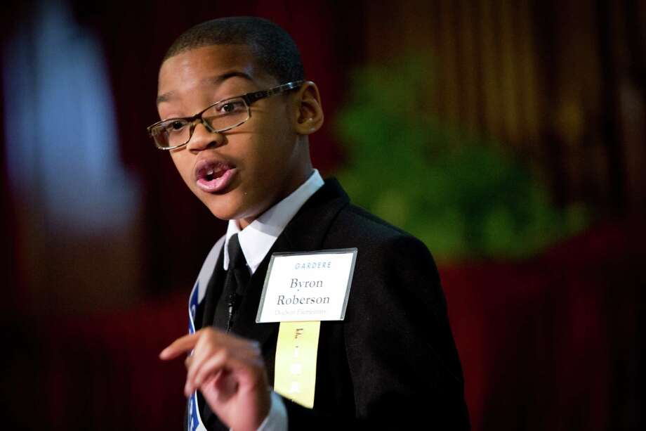 Dodson Elementary School fifth grader, Byron Roberson won second place at the 18th Annual Gardere MLK Jr. Oratory Competition, Friday, Jan. 17, 2014, at the Antioch Missionary Baptist Church in Houston. Photo: Marie D. De Jesus, Houston Chronicle / © 2014 Houston Chronicle