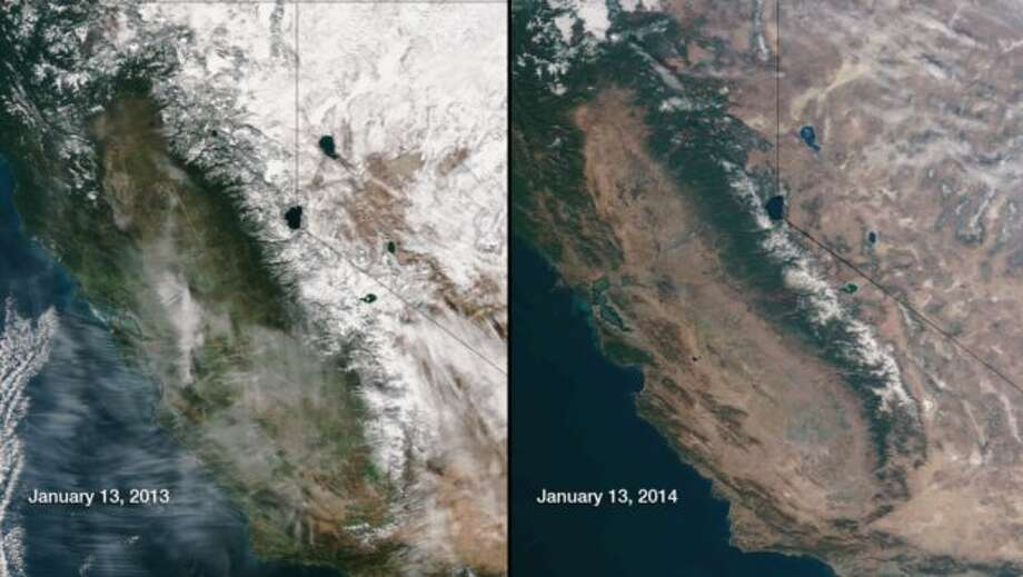This image compares January 13, 2013 and January 13, 2014 snow cover as seen by the Suomi NPP satellite's VIIRS instrument. The Snow Water Equivalents in the Sierra Nevada mountain range in California are abnormally low for this time of year, as can be seen in this image comparing 2013 to 2014. Photo: NASA