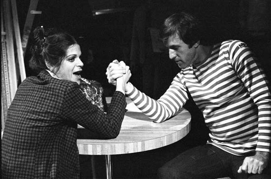 Gilda Radner and Fran Tarkenton arm wrestle on January 29, 1977 Photo: NBC, NBC Via Getty Images / 2012 NBCUniversal, Inc.