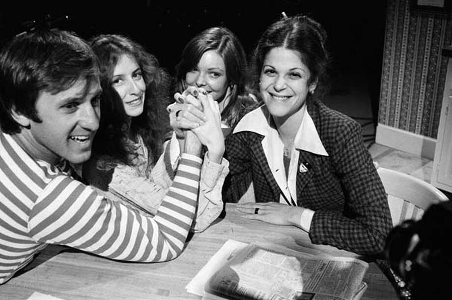 Fran Tarkenton, Laraine Newman, Jane Curtin, and Gilda Radner goof around on January 29, 1977 Photo: NBC, NBC Via Getty Images / 2012 NBCUniversal, Inc.