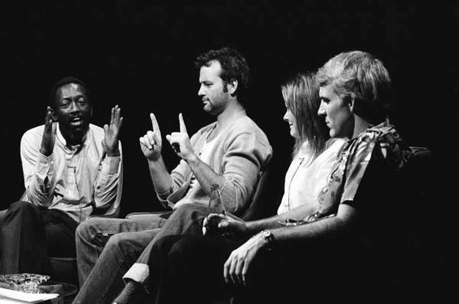 Garrett Morris, Bill Murray, Jane Curtin, and Steve Martin rehearse for the 'The David Susskind Show' skit on October 13, 1979 Photo: NBC, NBCU Photo Bank Via Getty Images / 2012 NBCUniversal Media, LLC