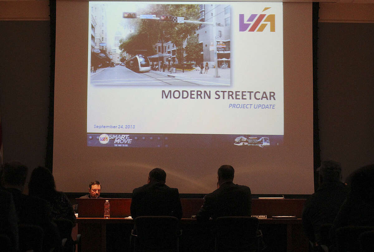 VIA Metropolitan Transit trustees discuss their downtown streetcar project prior to a September vote. Attorney General Greg Abbott recently denied a VIA request to use sales tax revenue to fund two downtown transit centers.