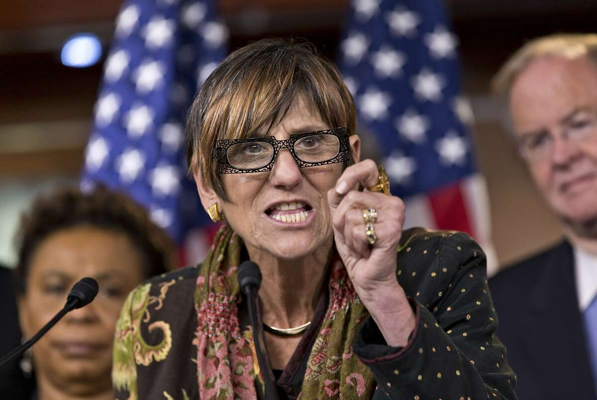 Rep. Rosa DeLauro, D-Conn., co-chair of the House Democratic Steering and Policy Committee, talks about hearing she and other House Democrats held earlier on the potential impact of a Romney-Ryan budget on the future of Medicare, in Washington, Tuesday, Oct. 2, 2012. (AP Photo/J. Scott Applewhite)