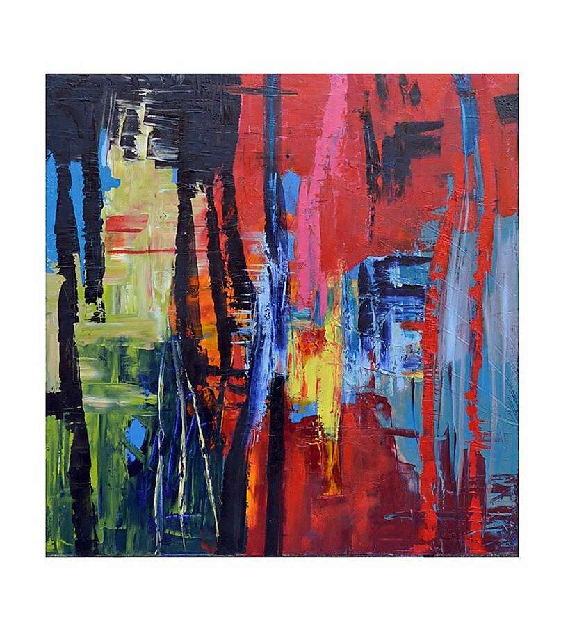 Abstract acrylic painting on canvas estimated retail $2,000, $1,000 on Previously Owned by a Gay Man.