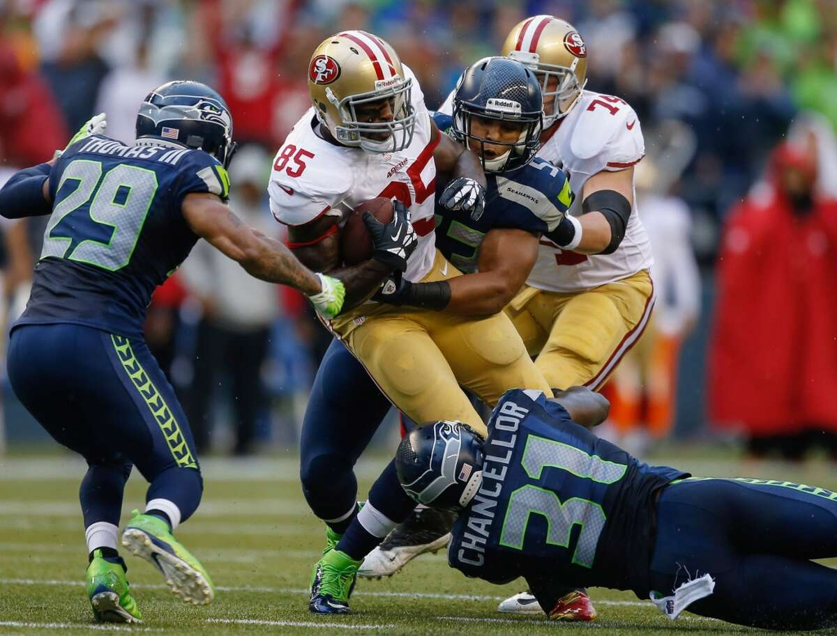 Five things to watch: 49ers at Seahawks (NFC championship game)Sunday, Jan. 19 | 3:30 p.m. PST | CenturyLink Field | TV: Fox Well, this is it. Sunday's game at CenturyLink Field isn't only a clash of two of the best teams in the NFL. Nor is it simply an extension of the best rivalry in the league. And it's also not just the latest installment of a high stakes conference championship game - with a Super Bowl berth hinging on the outcome. Sunday's game is all of these. After all of the hype and bluster, through 17 long weeks of the regular season and two more nail-biting playoff weekends, it always seemed like it was going to come down to this, didn't it? Elite teams who know -and detest - each other inside and out. Pete Carroll vs. Jim Harbaugh, Russell Wilson vs. Colin Kaepernick, the Niners linebackers vs. the Legion of Boom. A battle of good vs. evil, depending on your zip code. There's not a lot we don't know about these two teams at this point. They both feature exiting game breakers at quarterback, they both run the ball with purpose and they both play really, really good defense. So what will we be watching for at kickoff on Sunday? Click through the gallery to find out, and let us know what you'll be looking for in the comments section below.