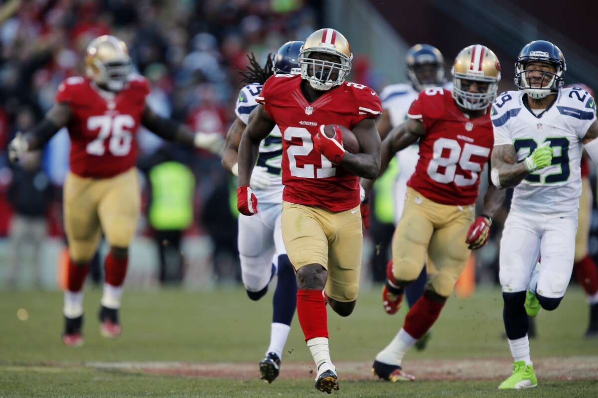 The last time they met: Dec. 8, 2013 - Seahawks 17 at 49ers 19 To beat Seattle, you have to shut down the running game while running the ball effectively yourself, and that's exactly what the 49ers did in the teams' last matchup at Candlestick Park in Week 14. Unlike their first contest in Week 2, the 49ers were able to take an early lead and stay committed to the ground game. Running back Frank Gore racked up 110 yards on 17 carries, including a 51-yard burst in a key fourth-quarter scoring drive.That took the pressure of quarterback Colin Kaepernick, who only completed 15 of his 29 pass attempts. Conversely, the Seahawks were unable to establish any momentum running the ball, but it wasn't for lack of trying. Running back Marshawn Lynch carried 20 times (just above his season average of 18.8) but managed just 72 yards. Quarterback Russell Wilson and the passing game couldn't make big plays against the 49ers defense, save Luke Willson's 39-yard touchdown catching the third quarter. Then there were the penalties. Oh, the penalties. The game was a flag-fest, with the teams combining to commit 16 infractions in total - nine on the Seahawks for 85 yards and seven against the Niners for a total of 70 yards - and that doesn't count the three that were declined. In short, it was an ugly slugfest that came down to a last-minute Phil Dawson field goal to win it. If the 49ers want to replicate the result, they'll need to implement the same style they did in December.