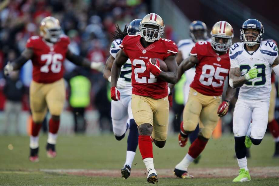 The last time they met:Dec. 8, 2013 — Seahawks 17 at 49ers 19To beat Seattle, you have to shut down the running game while running the ball effectively yourself, and that's exactly what the 49ers did in the teams' last matchup at Candlestick Park in Week 14.Unlike their first contest in Week 2, the 49ers were able to take an early lead and stay committed to the ground game. Running back Frank Gore racked up 110 yards on 17 carries, including a 51-yard burst in a key fourth-quarter scoring drive.That took the pressure of quarterback Colin Kaepernick, who only completed 15 of his 29 pass attempts.Conversely, the Seahawks were unable to establish any momentum running the ball, but it wasn't for lack of trying. Running back Marshawn Lynch carried 20 times (just above his season average of 18.8) but managed just 72 yards. Quarterback Russell Wilson and the passing game couldn't make big plays against the 49ers defense, save Luke Willson's 39-yard touchdown catching the third quarter.Then there were the penalties. Oh, the penalties.The game was a flag-fest, with the teams combining to commit 16 infractions in total — nine on the Seahawks for 85 yards and seven against the Niners for a total of 70 yards — and that doesn't count the three that were declined.In short, it was an ugly slugfest that came down to a last-minute Phil Dawson field goal to win it. If the 49ers want to replicate the result, they'll need to implement the same style they did in December. Photo: Brian Bahr, Getty Images
