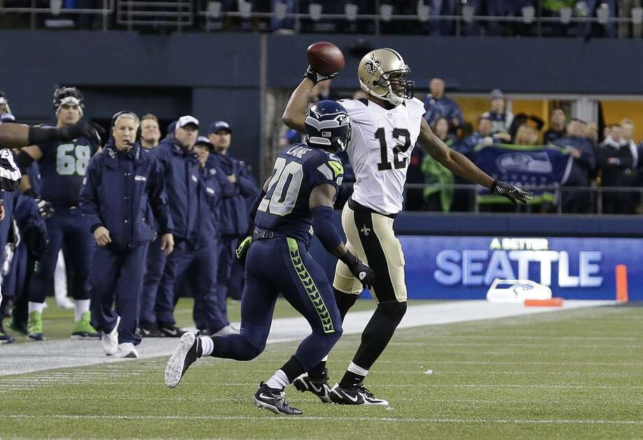 Bonus: Who makes the big mistake in a raucous CLink?We touched on this with Wilson, but oftentimes it's not who makes the big play to win a game that counts. It's who commits — or doesn't commit — a crucial mistake that can often spell the difference between victory and defeat.Last week, it looked like receiver Golden Tate's mishandling of an onside kick attempt could be the Seahawks' undoing. Only after Saints wideout Marques Colton made a equally egregious error — throwing an illegal forward pass instead of stepping out of bounds on what turned out to be the game's final play — was Tate off the hook.This is the area where Seattle's vaunted 12th Man could make the most difference. The well documented noise level certainly impacts an opposing offense's ability to communicate, and that can easily lead to a blown assignment on the offensive line, or rattled nerves that impair someone's ability to make even a routine play.All of that might seem abstract or anecdotal, but a little digging illustrates the Hawks' dominance at home, aided by the 12th Man: On the biggest stage with the biggest crowds at CenturyLink Field (i.e. nationally televised Thursday, Sunday or Monday night games and playoff contests), the Seahawks simply don't lose in the Pete Carroll era, going 9-0 since 2010. Photo: Elaine Thompson, ASSOCIATED PRESS