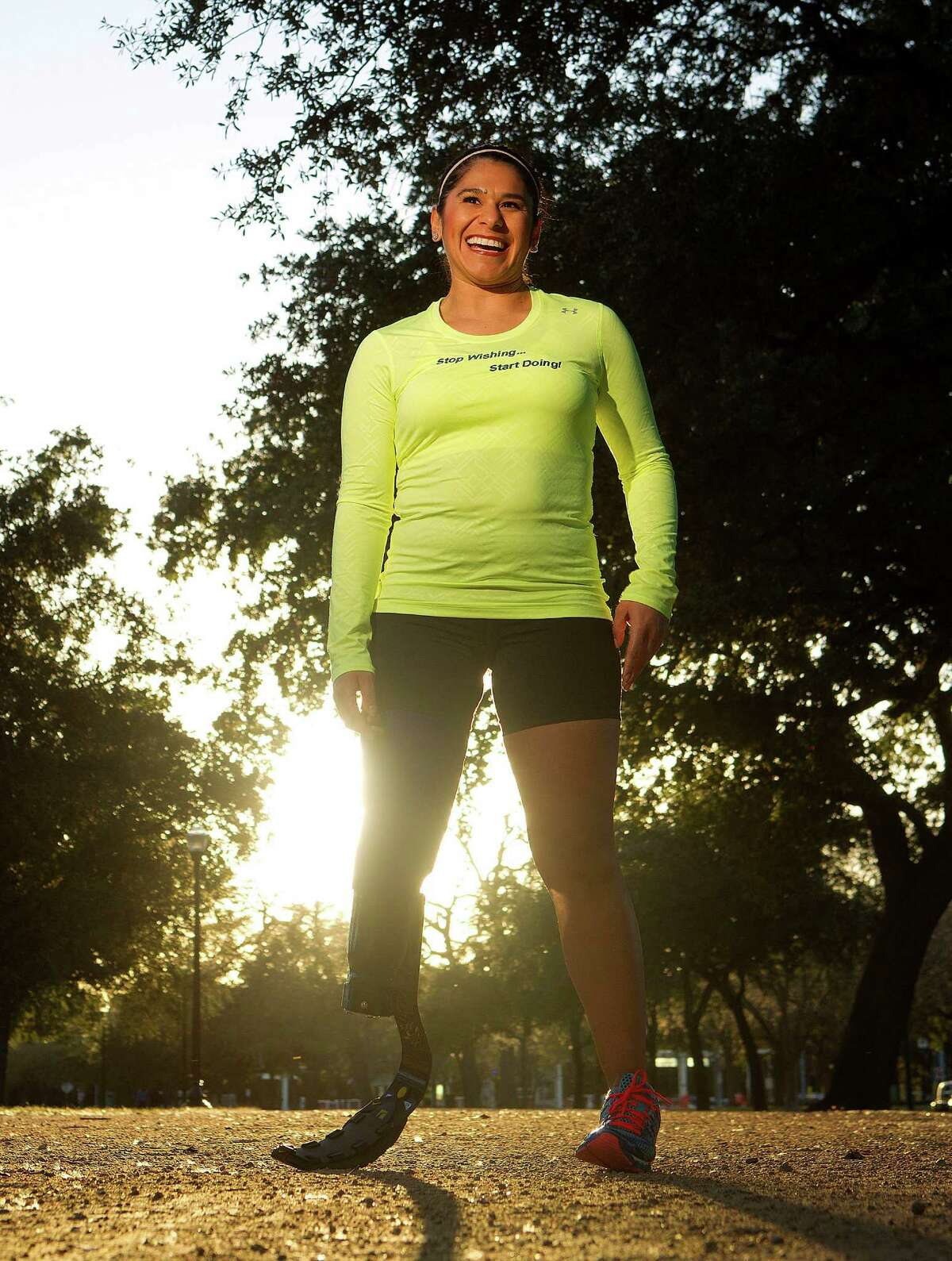 Alma Faz is believed to be the first person to attempt to run Houston's marathon with a prosthetic leg.