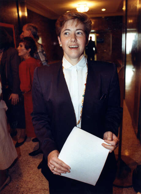 July 2, 1991 -- Annise Parker, City Council candidate challenging District C Councilman Vince Ryan, outside Houston City Council chambers. Dan Hardy / Houston Post Photo: Dan Hardy, HP Staff / Houston Post files