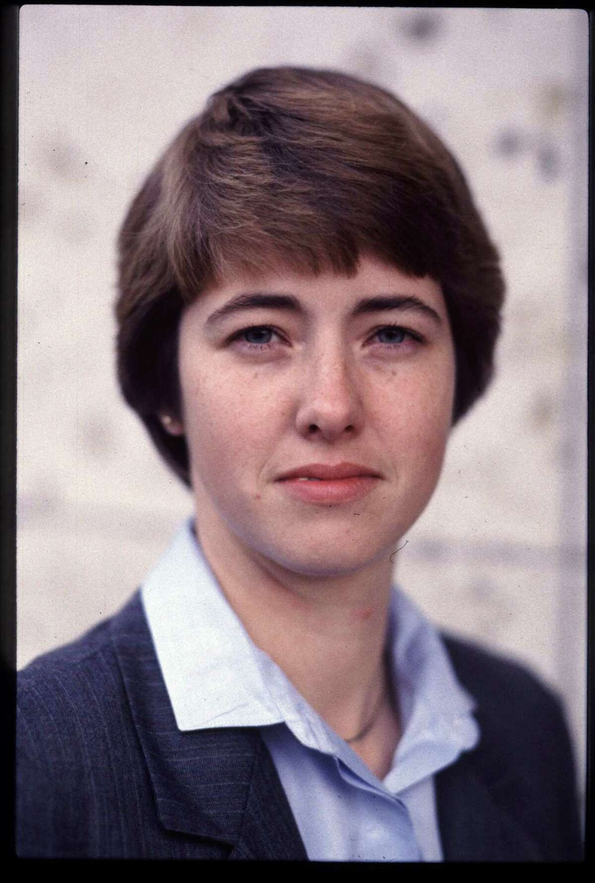 01/16/1986 - Annise Parker - newly elected Gay Political Caucus president at office, 3217 Fannin. Ira Strickstein / Houston Post