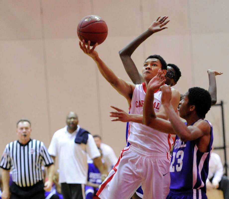 January 17 Byrd bounces from a 12-point performance by pumping in 23 points in a 61-51 victory over Westhill Photo: Bob Luckey / Greenwich Time