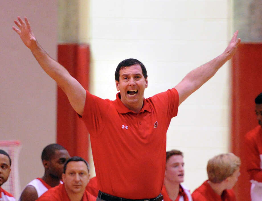 Greenwich High School boys basketball coach Bill Brehm reacts during the high school basketball game between Greenwich High School and Westhill High School at Greenwich, Friday night, Jan. 17, 2014. Photo: Bob Luckey / Greenwich Time