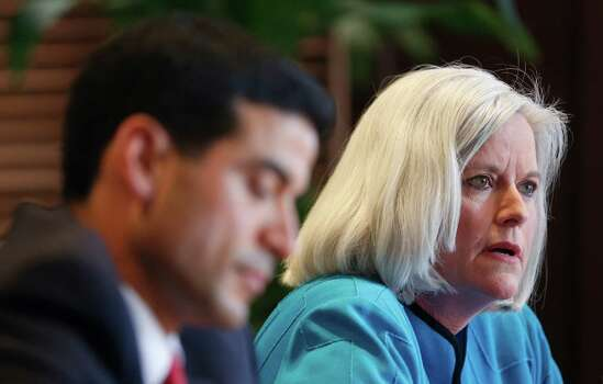 Democratic District Attorney candidate Nico LaHood (left) and Therese Huntzinger, speaking to the Express-News Editorial Board, both say they feel they're the best candidates to unseat four-term Republican incumbent Susan Reed. Photo: William Luther / San Antonio Express-News / @2014 San Antonio Express-News