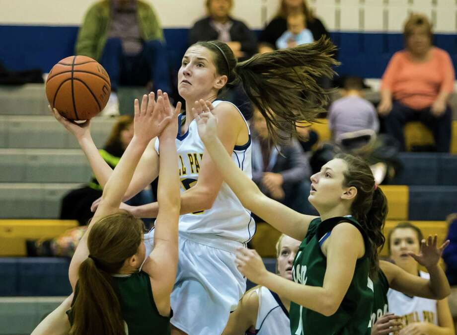 Averill Park's #5 Kelly Donnelly takes the ball to the hoop during the girls' basketball game against Shenendehowa, Friday, Jan. 17, 2014 in Averill Park, N.Y. (Dan Little / Special to the Times Union) Photo: Dan Little / Copyright Dan Little