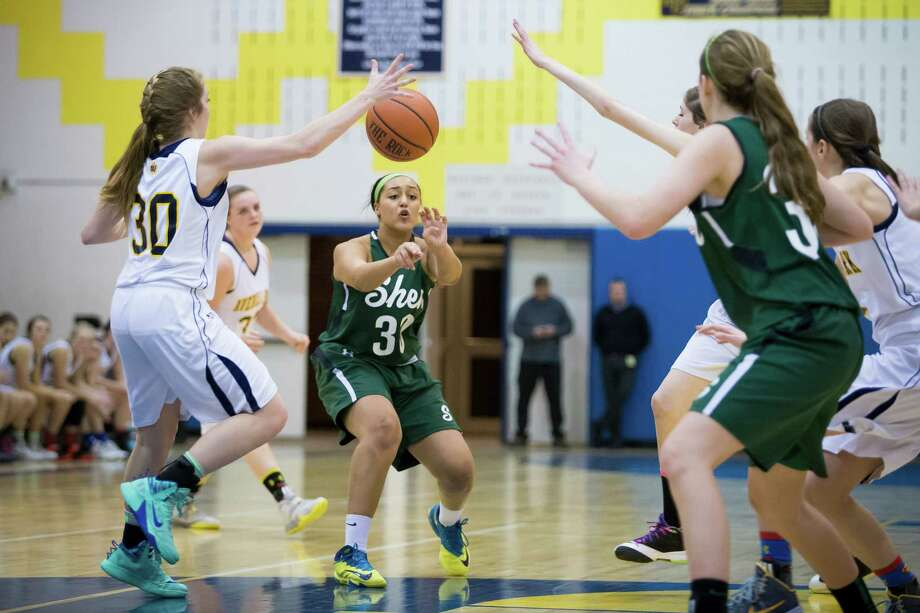 Averill Park's #30 Samantha Laranjo intercepts a pass from Shen's #30 Samira Sangare during the girls' basketball game, Friday, Jan. 17, 2014 in Averill Park, N.Y. (Dan Little / Special to the Times Union) Photo: Dan Little / Copyright Dan Little