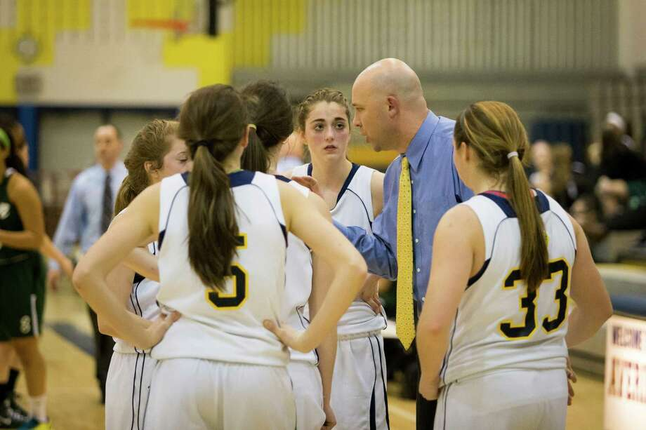 Averill Park head coach Sean Organ talks to his team during their girls' basketball game against Shenendehowa, Friday, Jan. 17, 2014 in Averill Park, N.Y. (Dan Little / Special to the Times Union) Photo: Dan Little / Copyright Dan Little