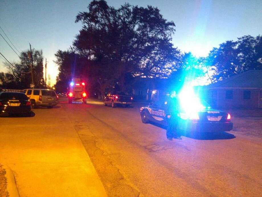 Authorities are on the scene in Nederland where an armed man has barricaded himself inside a home. Photo provided by KBMT Channel 12 Photo: KBMT Channel 12