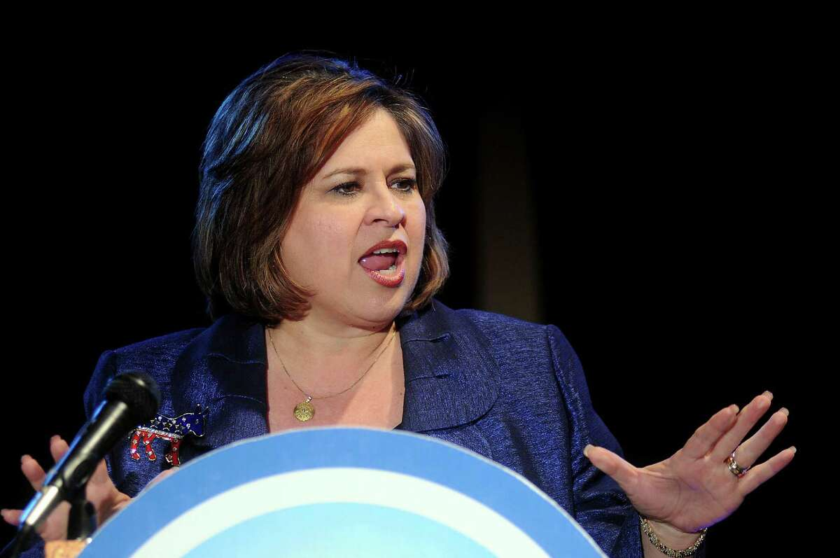 Lieutenant governor candidate Leticia Van de Putte speaks at the 2nd Annual Toast to a Blue Year Celebration at Warehouse Live Thursday Jan 16 2014.(Dave Rossman photo)