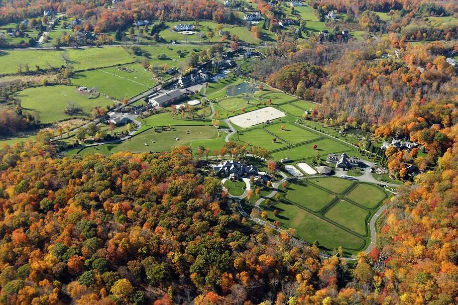 An aerial shot of an 87-acre estate that hit the market for $55 million in Ridgefield Friday.  Photo Courtesy of Douglas Elliman Real Estate.