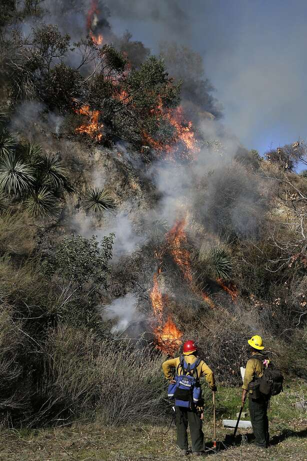 Firefighters watch a fire burn as they battle the Colby Fire on Friday, Jan. 17, 2014, near Azusa, Calif. Firefighters were chasing flare-ups Friday morning in the damaging wildfire that was largely tamed but kept thousands of people from their homes in the foothill suburbs northeast of Los Angeles.(AP Photo/Jae C. Hong) Photo: Jae C. Hong, Associated Press