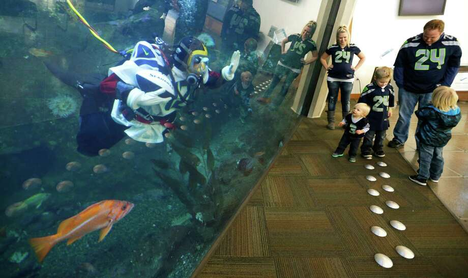 Nicole Killebrew, a diver at the Seattle Aquarium, wears a Seattle Seahawks NFL football No. 12 jersey as she greets Bryan Bouma, right; his wife, Shareen Bouma; and their children as they wear jerseys of their own while viewing a large interactive marine life display Friday, Jan. 17, 2014, in Seattle. The Seahawks will play the San Francisco 49ers on Sunday for the NFC championship in Seattle, and the aquarium was one of many locations around the city promoting the game. Photo: Ted S. Warren, AP / AP