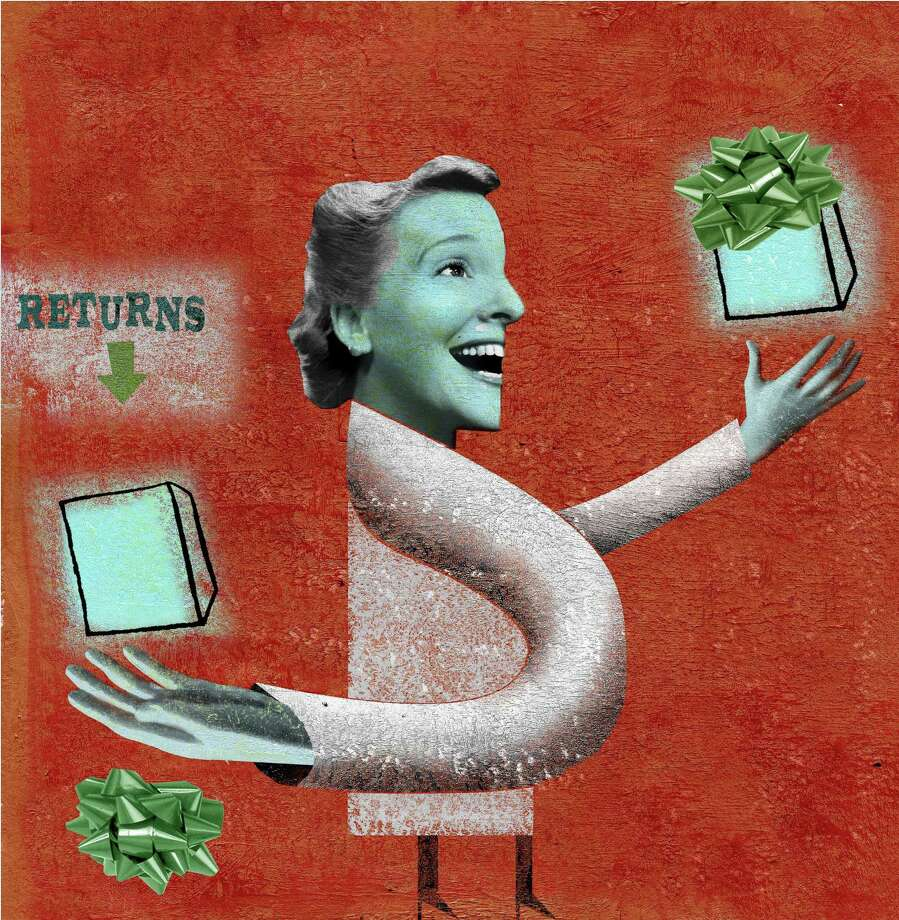 300 dpi Michael Hogue color illustration of woman receiving gift in one hand and returning it with the other. The Dallas Morning News 2007gift return illustration regift yard sale present bow mothers day birthday krtholiday holiday, krtwinter winter, krtxmas christmas xmas, krtnational national, krtworld world, krtbusiness business, krtintlbusiness, krtnamer north america, krtpersonalfinance personal finance, krtusbusiness, u.s. us united states, krt, mctillustration, regalo devolver navidad cumpleanos negocios illustration ilustracion grabado 2007, krt2007 mct mct2007 da contributor coddington hogue Photo: Hogue / © MCT 2007