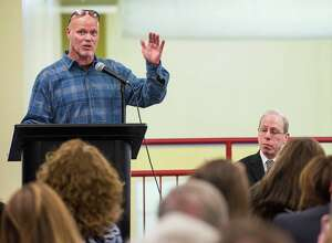 Jim McMahon, former Chicago Bears quarterback, speak to an audience at Chelsea Piers Stamford, CT Thursday, January, 16th, 2014.