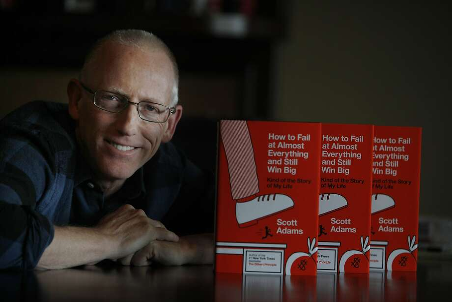 Cartoonist Scott Adams shows off the new memoir detailing the numerous failures that he credits for his success. Photo: Lea Suzuki, The Chronicle