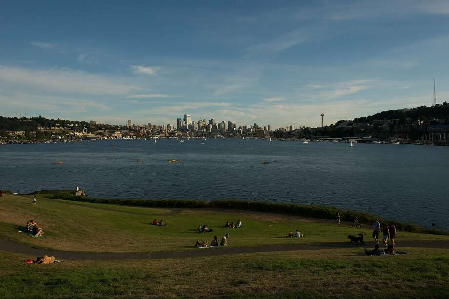 Seattle, as seen across Lake Union from Gas Works Park, is a great city. And the nice people who live there aren't above telling lies in order to keep it all for themselves. Photo: The Washington Post, The Washington Post/Getty Images