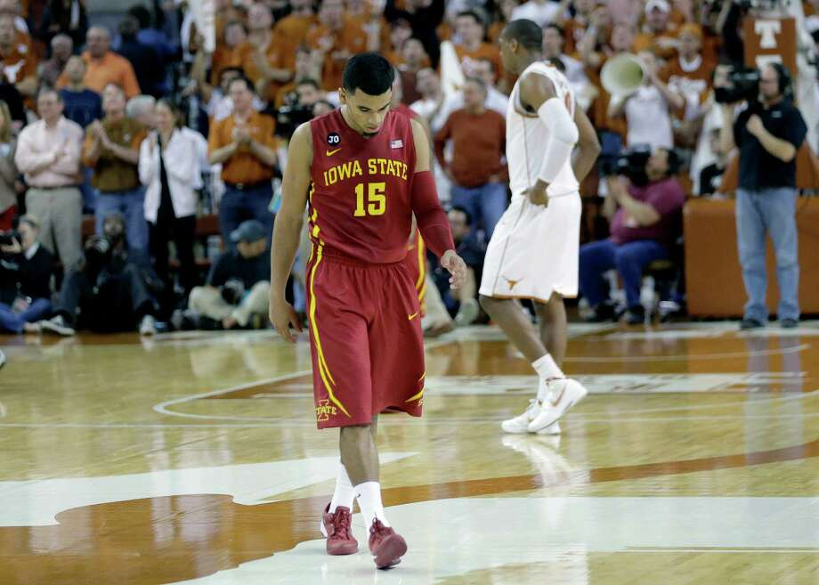 Iowa State's Naz Long (15) walks off the court after the team's loss to Texas in an NCAA college basketball game, Saturday, Jan. 18, 2014, in Austin, Texas. Texas won 86-76. (AP Photo/Eric Gay) Photo: Eric Gay, Associated Press / AP