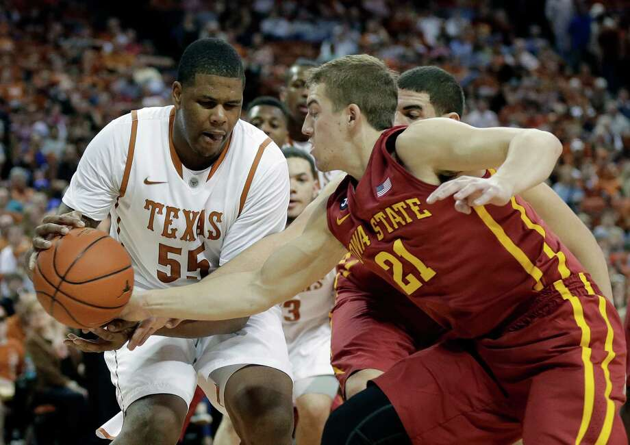 Iowa State's Matt Thomas (21) pressures Texas' Cameron Ridley (55) during the first half on an NCAA college basketball game, Saturday,  Jan. 18, 2014, in Austin, Texas. (AP Photo/Eric Gay) Photo: Eric Gay, Associated Press / AP
