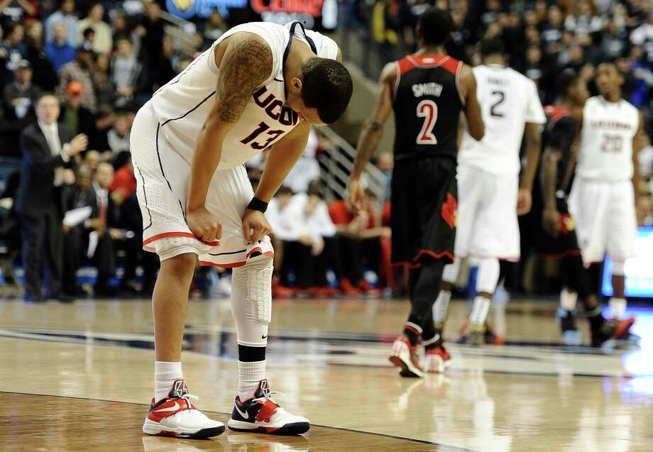 Connecticut's Shabazz Napier reacts during the final seconds of an NCAA college basketball game against Louisville, Saturday, Jan. 18, 2014, in Storrs, Conn. Louisville won 76-64. Photo: Jessica Hill, AP / Associated Press