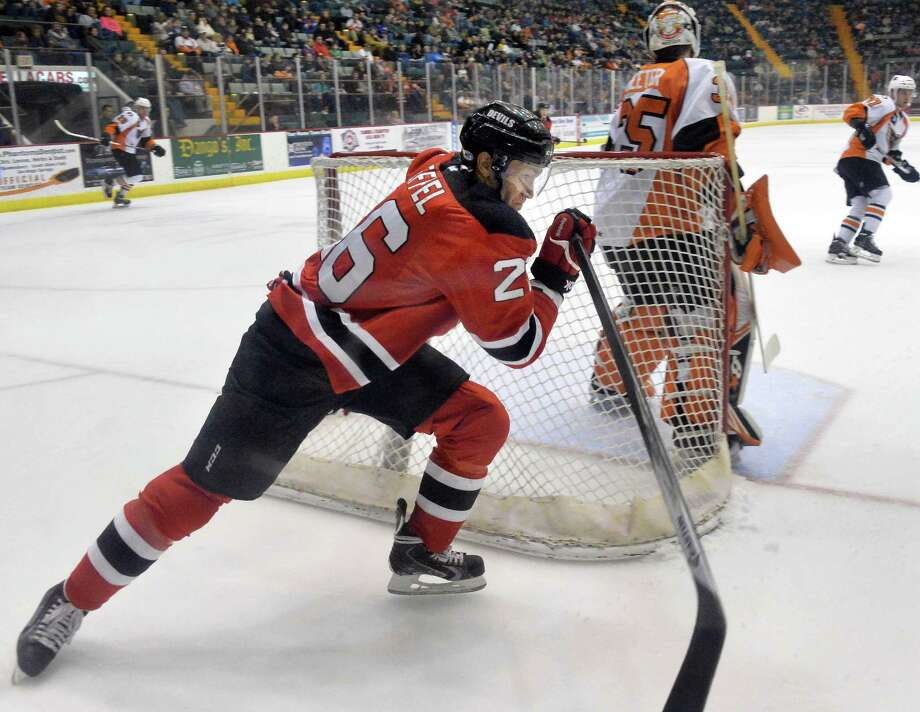 Devils's #26 Mike Hoeffel during Saturday's game against the Adirondack Phantoms at the Glens Falls Civic Center  Jan. 18, 2014, in Glens Falls, NY.  (John Carl D'Annibale / Times Union) Photo: John Carl D'Annibale / 00025361A