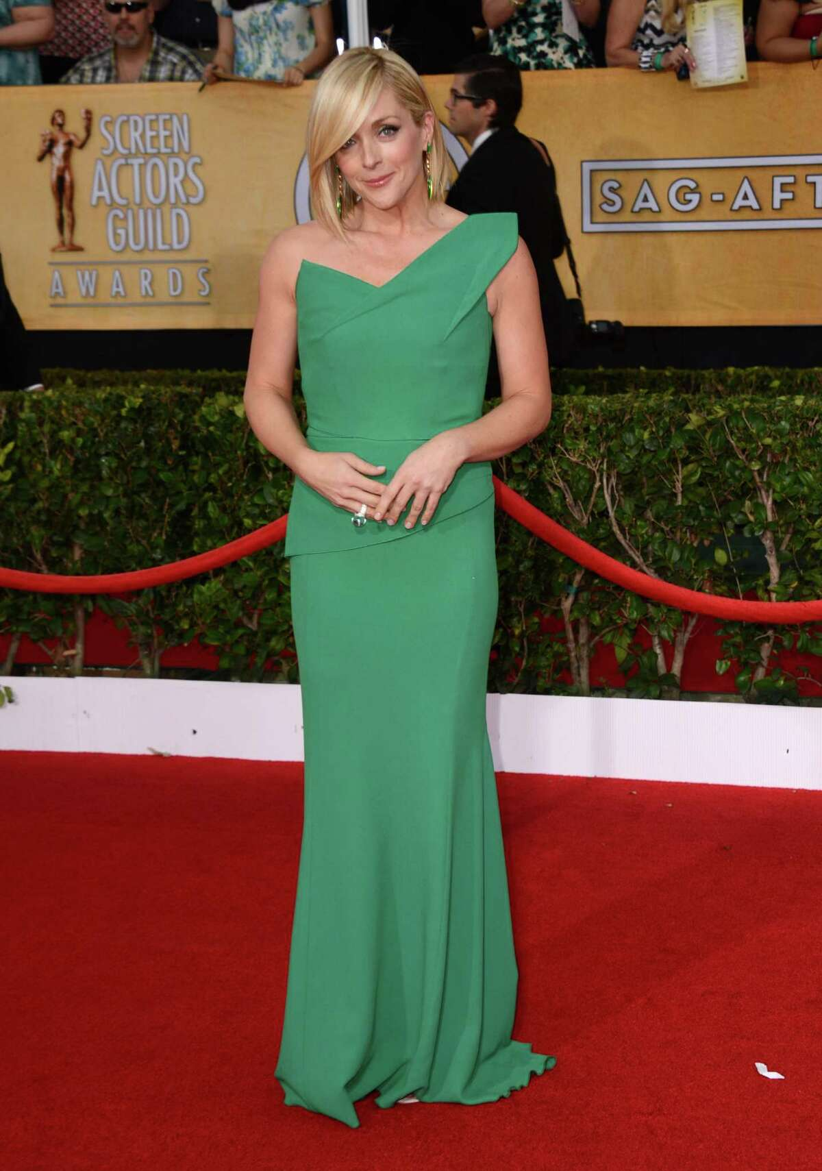 Jane Krakowski arrives at the 20th annual Screen Actors Guild Awards at the Shrine Auditorium in Los Angeles on Saturday, Jan. 18, 2014. In the first part of this gallery, we'll look at the red carpet fashions. First: Bright colors.