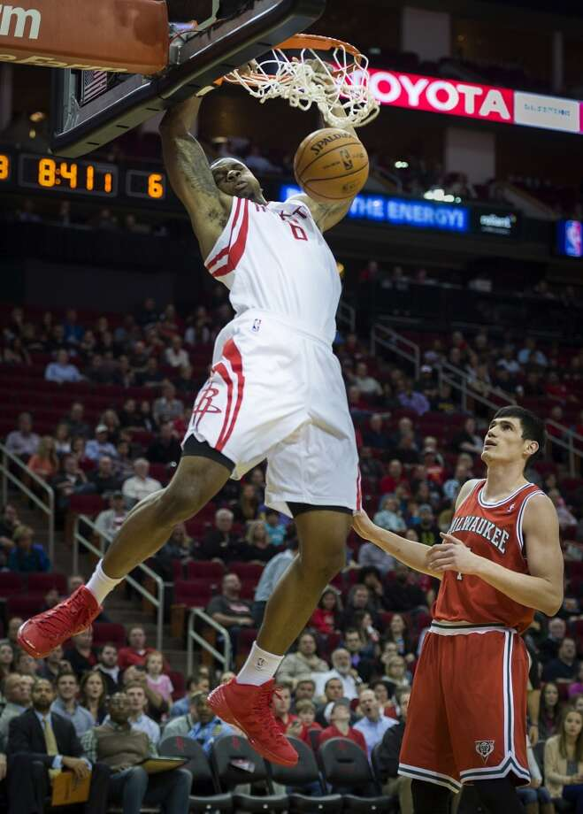 Jan. 18:  Rockets 114, Bucks 104  Rockets power forward Terrence Jones dunks the ball past Bucks power forward Ersan Ilyasova. Photo: Smiley N. Pool, Houston Chronicle