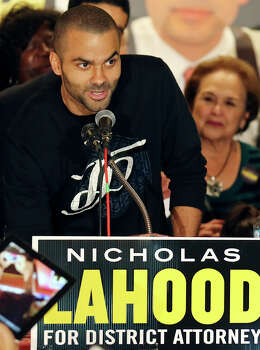 Spurs' Tony Parker speaks during Nicholas LaHood's kickoff campaign event for district attorney Saturday Jan. 18, 2014 at the St. Paul Community Center. Photo: Edward A. Ornelas, San Antonio Express-News / © 2014 San Antonio Express-News