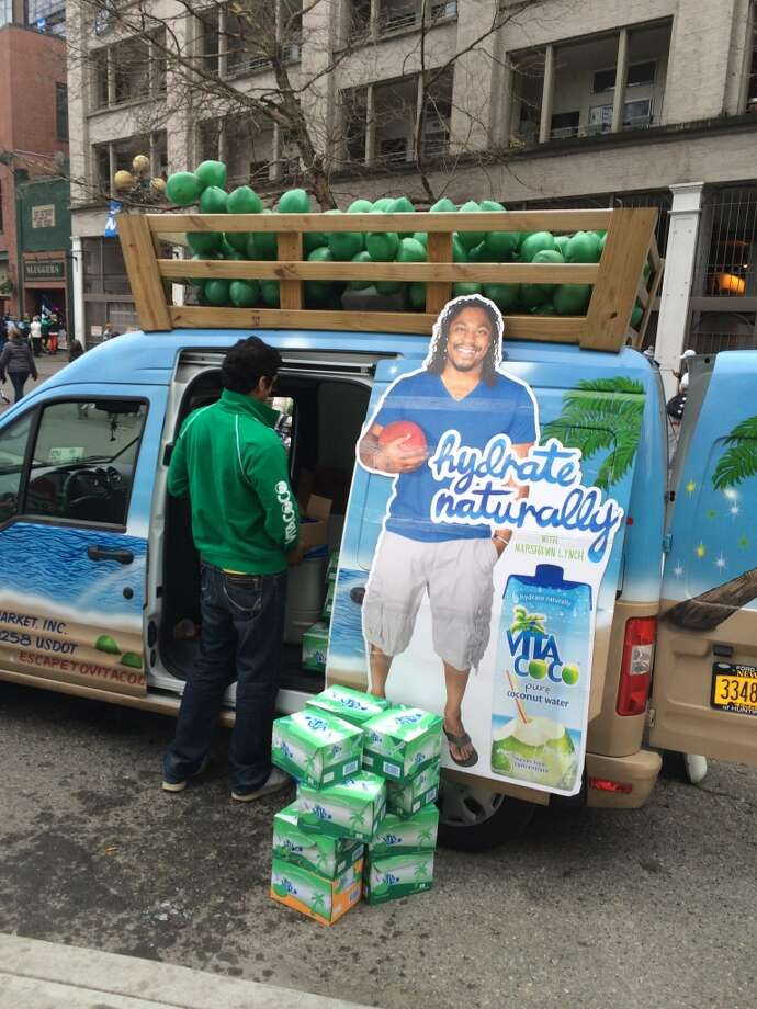 Marshawn Lynch is big on coconut water apparently. (Al Saracevic/Chronicle)