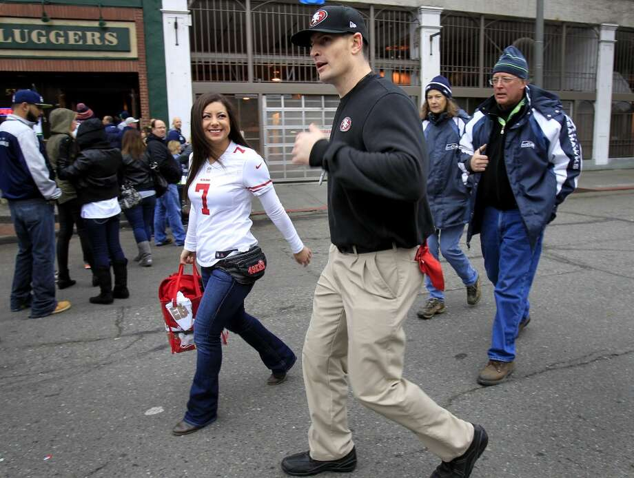 James Thomas of Sacramento, Calif. had his Jim Harbaugh look on as he made his way to the game Sunday January 19, 2014. The San Francisco 49ers meet the Seattle Seahawks for the NFC title at CenturyLink field in Seattle, Washington. Photo: The Chronicle